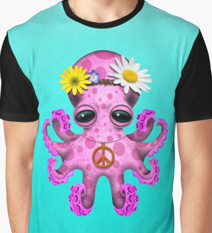 Cute Pink Baby Octopus Hippie Graphic T-Shirt