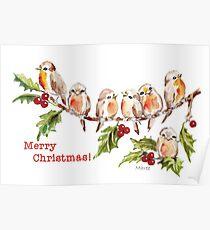 Merry Christmas! 7 Little birds Poster