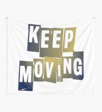 KEEP MOVING | BLUE + GOLD Wall Tapestry