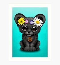Cute Hippie Black panther Cub Art Print