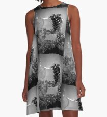 Pottery, Grapes and Wine (Black and White) A-Line Dress