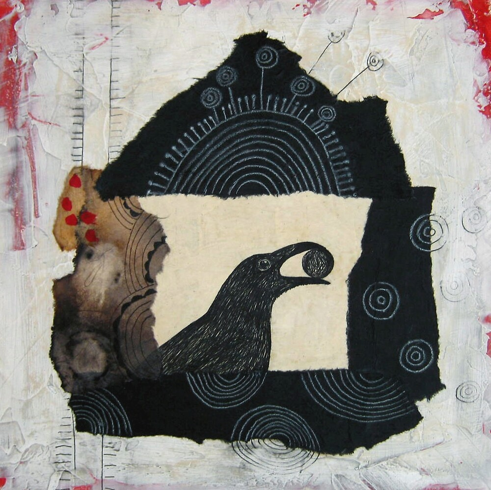 """""""Raven's Treasure"""", Mixed media Collage by Annie Coe"""