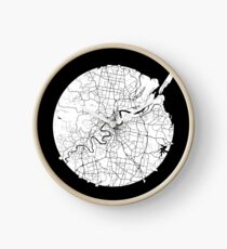 Brisbane Minimalistic Map - Dark Clock