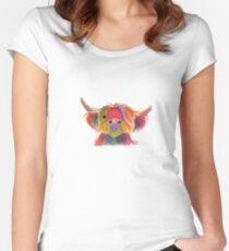 Scottish Hairy Highland Cow ' PENELOPE PLUM ' by Shirley MacArthur Women's Fitted Scoop T-Shirt