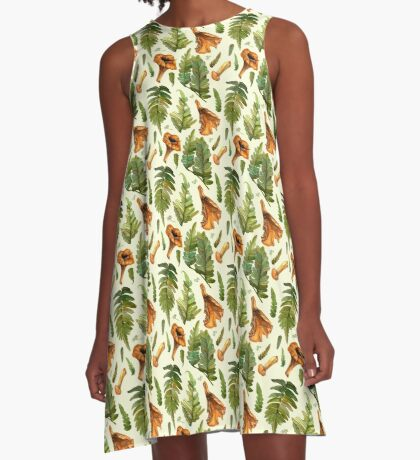 Ferns and mushrooms A-Line Dress