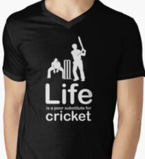 Cricket v Life - White Graphic Men's V-Neck T-Shirt