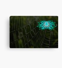 A Creepy Abstract Spider on It's Web Canvas Print