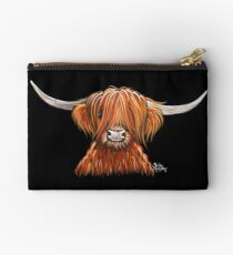 Scottish Hairy Highland Cow ' HARLEY 2 ' by Shirley MacArthur Studio Pouch