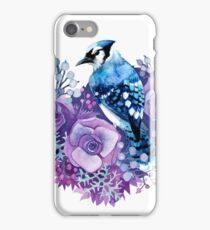 Blue Jay and Violet Flowers Watercolor  iPhone Case/Skin