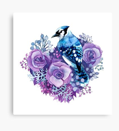 Blue Jay and Violet Flowers Watercolor  Canvas Print