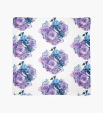 Blue Jay and Violet Flowers Watercolor  Scarf