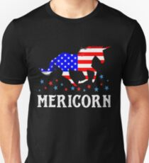 Mericorn American Flag Unicorn  Unisex T-Shirt