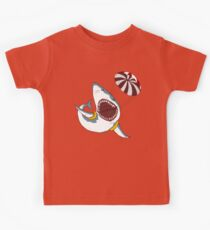 I Love Sharks Gift Funny Shark Flying With a Parachute Kids Clothes