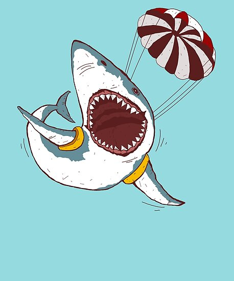 I Love Sharks Gift Funny Shark Flying With a Parachute