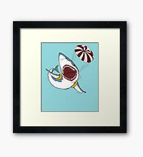 I Love Sharks Gift Funny Shark Flying With a Parachute Framed Print