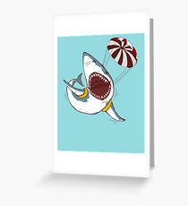 I Love Sharks Gift Funny Shark Flying With a Parachute Greeting Card