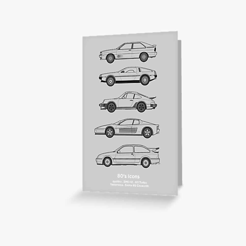 Iconic 80's classic cars outline artwork | Greeting Card