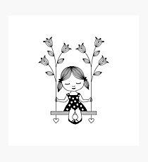 Happy girl with tulips Photographic Print