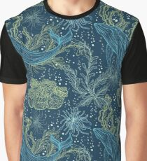 Seamless pattern with whale, marine plants and seaweeds Graphic T-Shirt