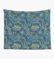 Seamless pattern with whale, marine plants and seaweeds Wall Tapestry