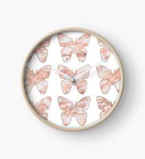 Rose gold butterflies Clock