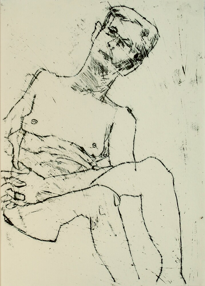 fara monoprint - sitting with clasped hands by donna malone
