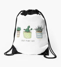 Crazy Plant Lady, Kaktus Pun Illustrationen Turnbeutel