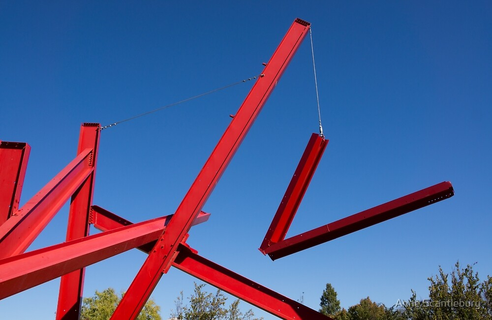 red sculpture by Anne Scantlebury