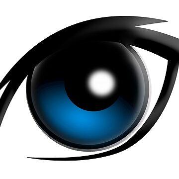 EYE, Blue eyes, Cartoon by TOMSREDBUBBLE