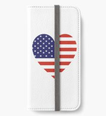American Flag, USA, Heart, Stars & Stripes, Pure & Simple, Americana, America, on WHITE iPhone Wallet/Case/Skin