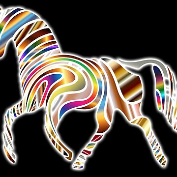 Psychedelic Horse, Horse shape, gradient colour, on BLACK by TOMSREDBUBBLE