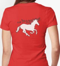 UNICORN, White on Pink, Heraldry, Horse, Legend, Myth, Mythology, Tale, Story, fable, fiction, folklore, lore,  Womens Fitted T-Shirt