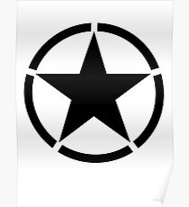 ARMY, Army Star & Circle, Jeep, War, WWII, America, American, USA, Black on White Poster