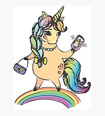 Funny cute unicorn girl Photographic Print