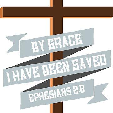 Bible Verse T-shirt - Cross of Jesus Ephesians 2:8 by elfsage
