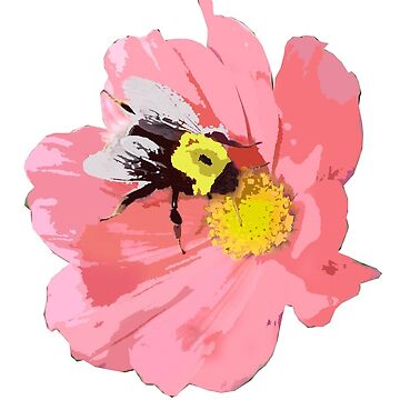 BEE AND PINK FLOWER by sarahdallow