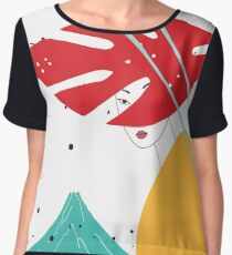 Modern style Japanese background with Asian girl and mountain Fuji Chiffon Top
