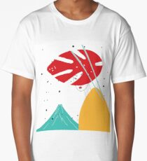 Modern style Japanese background with Asian girl and mountain Fuji Long T-Shirt