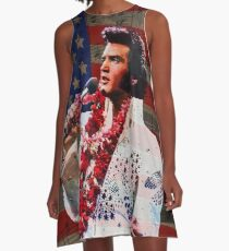 Elvis in Aloha white suit  A-Line Dress
