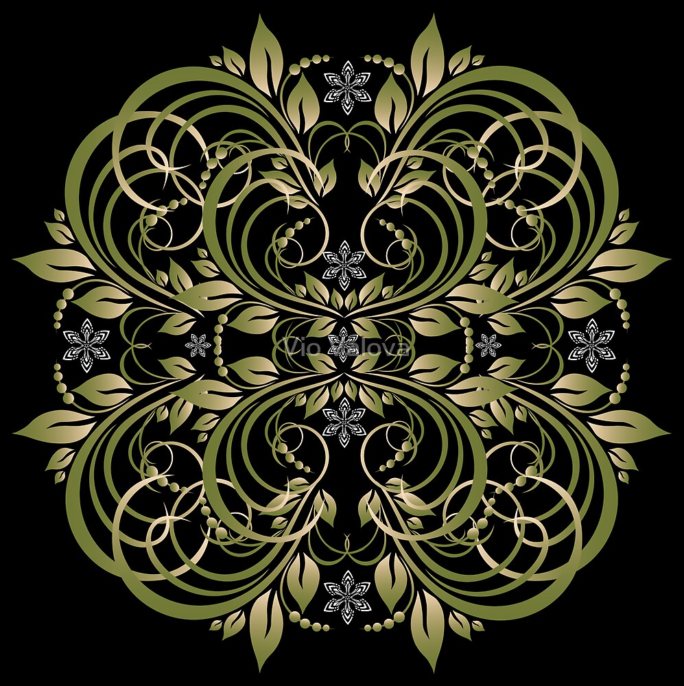 green vintage pattern by VioDeSign