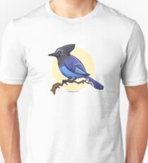 Stellar's Jay Bird over Yellow Background Unisex T-Shirt