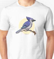 Blue Jay over yellow background Unisex T-Shirt