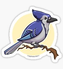 Blue Jay over yellow background Sticker