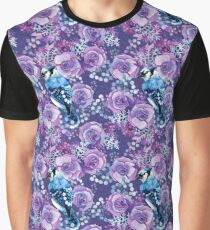 Blue Jay and Violet Anemones Graphic T-Shirt