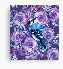 Blue Jay and Violet Anemones Canvas Print