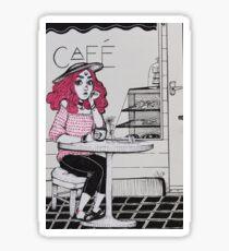 Cafe Girl Sticker
