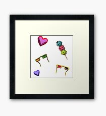 3D icecreams, sunglasses and hearts. Framed Print