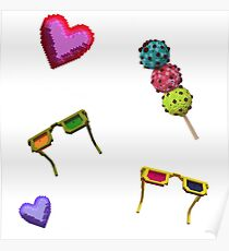 3D icecreams, sunglasses and hearts. Poster