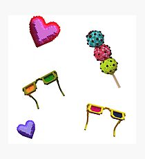 3D icecreams, sunglasses and hearts. Photographic Print