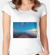 Sunset at the sea, Trieste Women's Fitted Scoop T-Shirt
